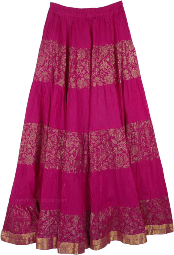 Royal Magenta Crinkle Cotton Long Skirt with Golden Print