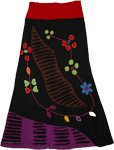 Black Applique Tantra Skirt