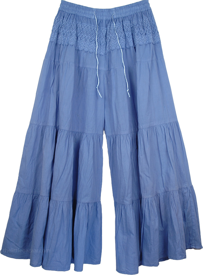 Culottes Split Skirt in Ship Cove Blue