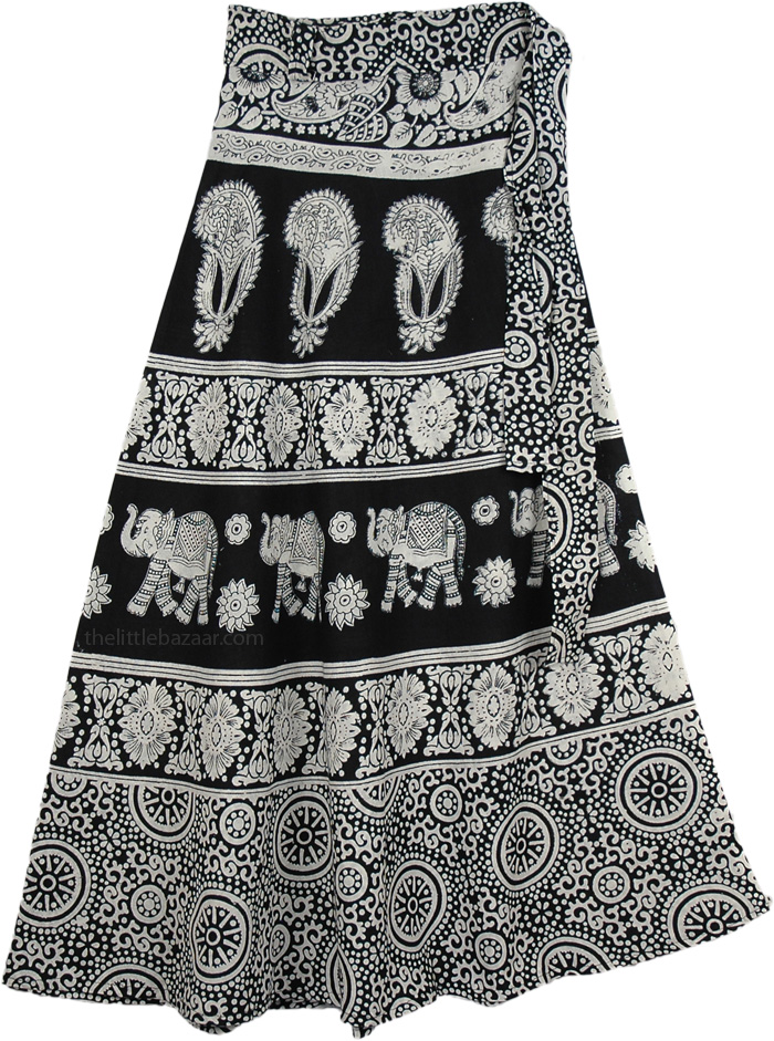 Summer Black White Elephant Wrap Skirt