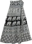 Ethnic Elephant Midi Skirt in Black White