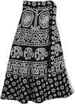 Black White Elephant Floral Cotton Wrap Skirt