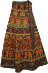 Animal Green Ethnic Long Wrap Skirt