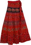 Block Print Red Blood Long Wrap Skirt