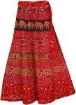 Elephant Wrap Around Skirt in Red Cardinal