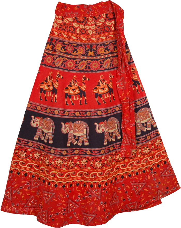 Red Black Wrap Around Ethnic Skirt