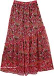 Floral Printed Chiffon Long Skirt