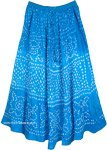 Sky Blue Summer Tie Dye Cotton Long Skirt