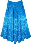 Sky Blue Summer Tie Dye Cotton Long Skirt