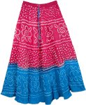 Pink Blue Hand Tie Dye Long Cotton Skirt from India