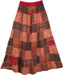 Flamed Apricot Patches Boho Long Skirt