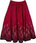 Dusty Monarch Floral Cotton Print Long Skirt