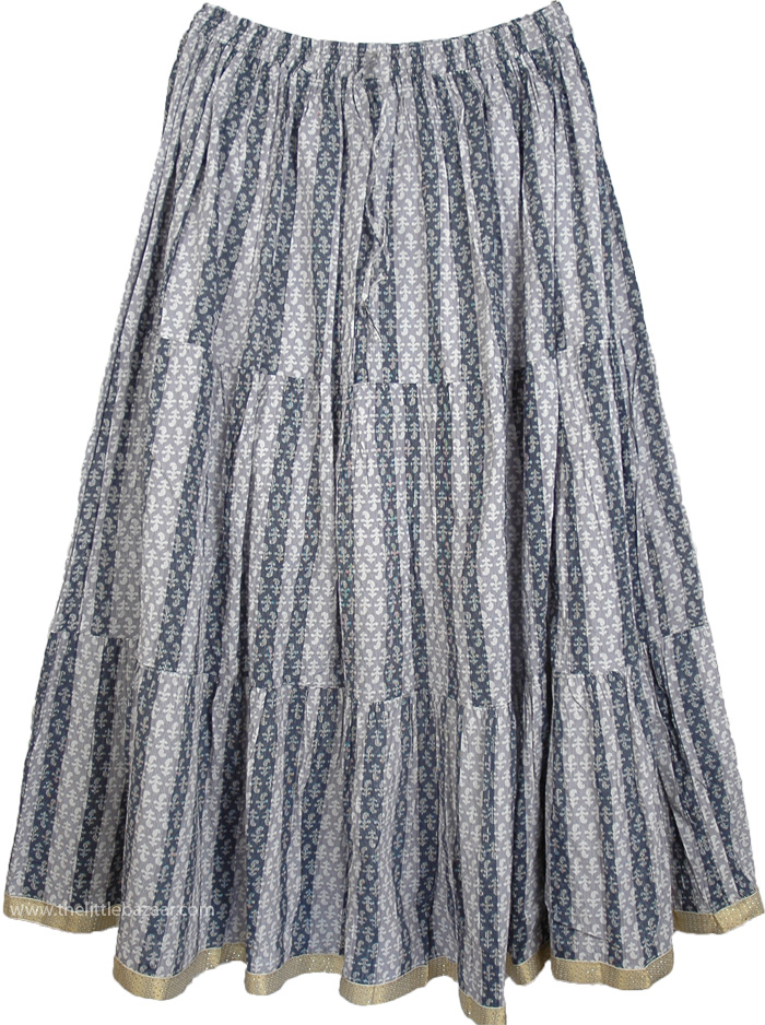 Venus Grey Women`s Full Cotton Skirt