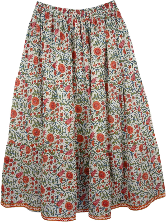 Chestnut Rose Floral Flexible Skirt
