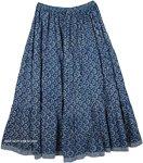 Paradise Blue Cotton Print Long Skirt