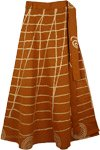 Peru Tan Golden Painted Skirt Cotton