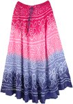 Ombre Blossoms Rippling Dance Tie Dye Long Skirt