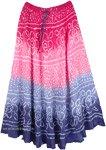 Ombre Blossoms Rippling Dance Tie Dye Long Skirt