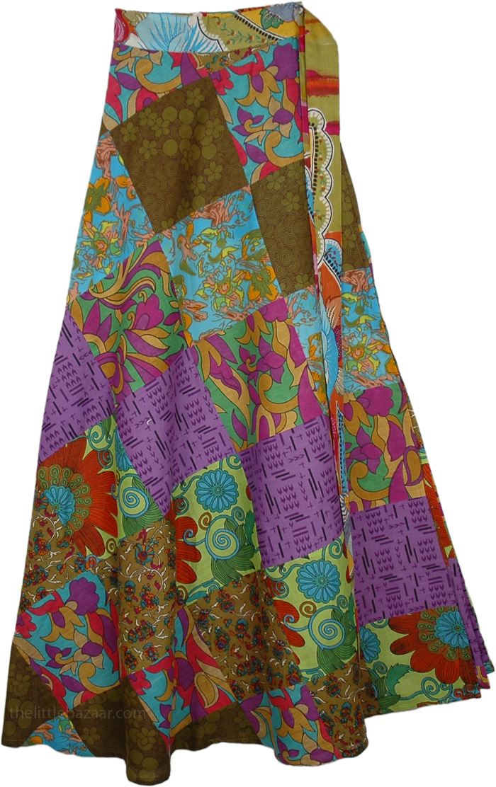 Floral Frenzy Patchwork Wrap Cotton Skirt