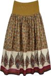 Luxor Gold Spandex Stretch Waist Cotton Summer Skirt