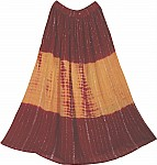 Maroon OrangeTie Dyed Ethnic Long Skirt