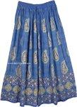 Indigo Gold Paisley Print Rayon Skirt