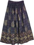 Navy Golden Paisley Print Rayon Skirt
