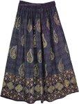 Navy Golden Paisley Print Rayon Skirt