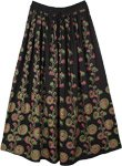 Mirage Black Long Skirt with Festive Block Print