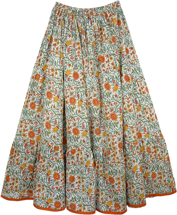 Marigold Floral Flexible Summer Fiesta Skirt
