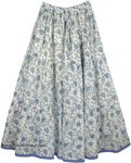 Hydrangea Blue Cotton Long Summer Skirt