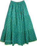Aqua Forest Cotton Print Long Skirt