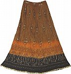 Brown Golden Crinkle Long Skirt