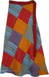 Petite Ankle Length Groovy Colorful Patchwork Wrap Around Skirt in