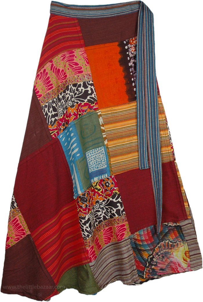 Boho Medley Wrap Around Skirt Patchwork Wrap Around Skirt