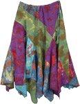 Buoyant Colorful Bohemian Hanky Hem Tie Dye Skirt