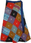 Solids and Stripes Colors Patchwork Skirt