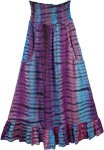 Peace Cosmic Waves Tie Dye Long Skirt with Pockets
