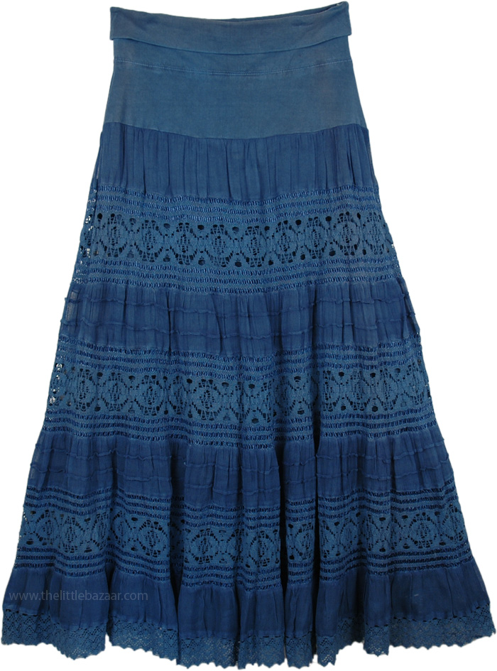 Chambray Foldover-Waist Long Skirt