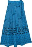 Azteca Blue Long Wrap AroundIndian Skirt