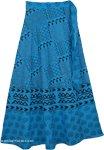 Azteca Blue Long Wrap Around Skirt