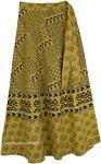 Luxor Gold Wrap Around Long Skirt with Geometric Prints