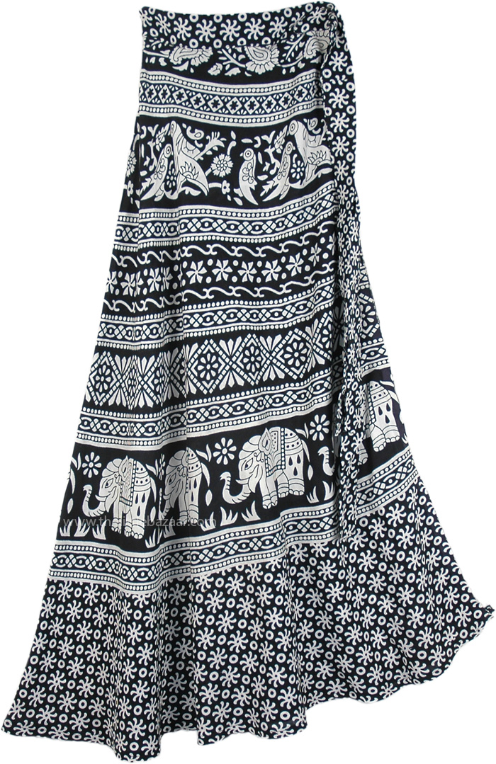 Blossoming Block Prints Maxi Skirt