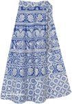 Sapphire Blue Wrap Around Skirt with Elephants and Florals