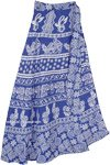 Cornflower Blue Wrap Skirt with Aztec Geometric Designs