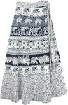 Classy Elephant Cavalcade Wrap Around Skirt in Black and White