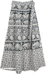Flowers and Elephants Bohemian Wrap Around Skirt in White