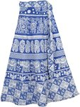 Happy Blue White Wrap Around Skirt