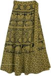 Luxor Gold Wrap Around Skirt with Elephant and Flower Print