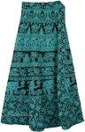 Jade Elephant Wrap Around Skirt with Floral Print